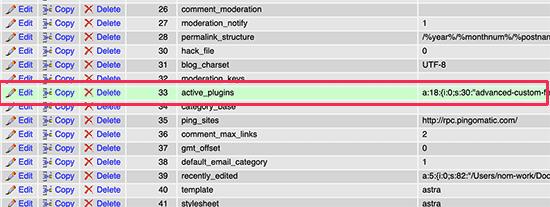 نحوه غیرفعال کردن دستی افزونه های وردپرس از طریق PHPMyAdmin