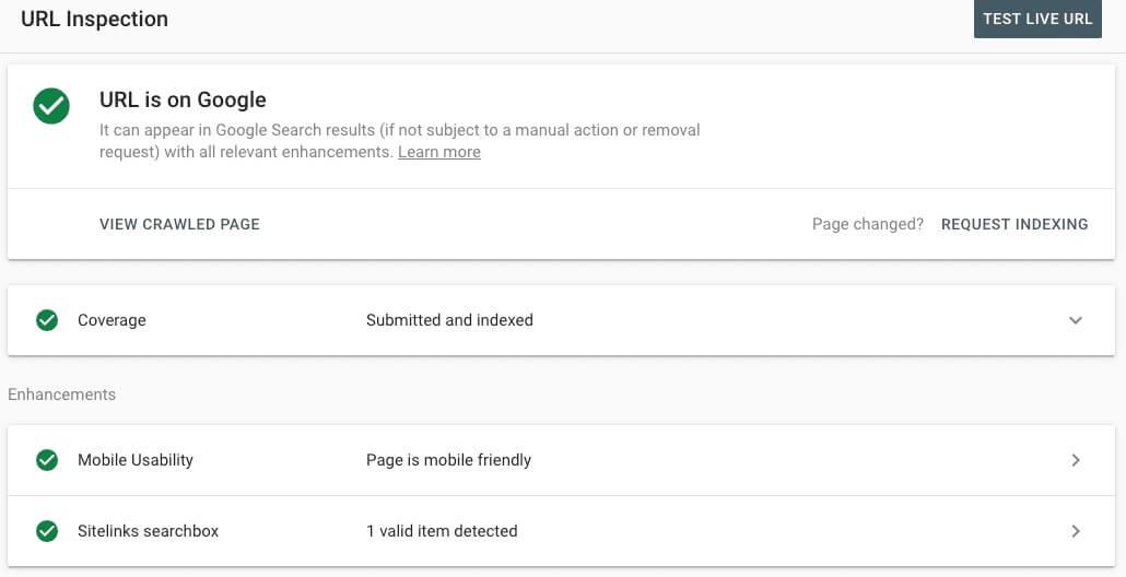 نحوه کار با گوگل سرچ کنسول در url inspection